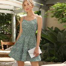 Allover Print Ruffle Tiered Cami Dress