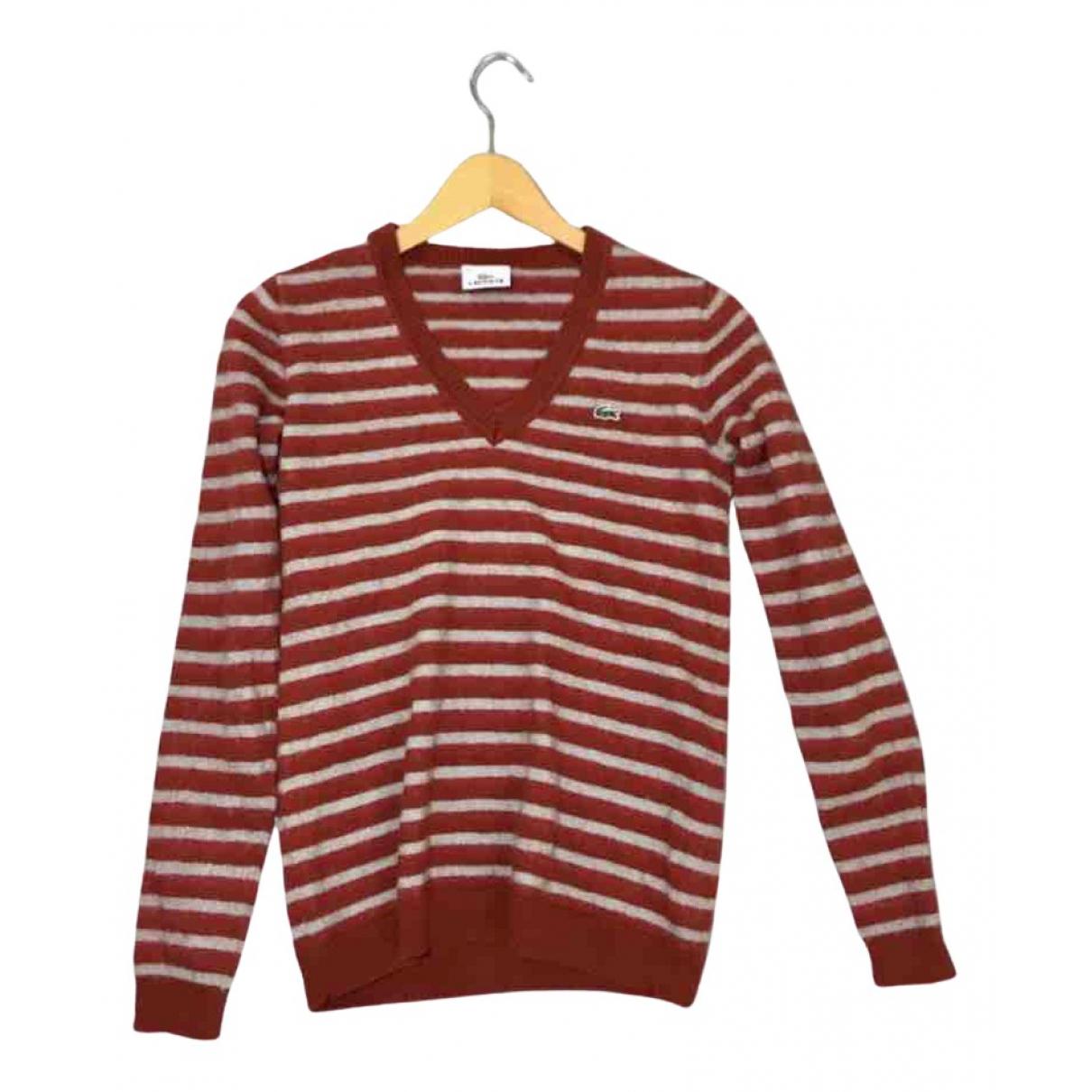 Lacoste - Pull   pour femme en laine - rouge