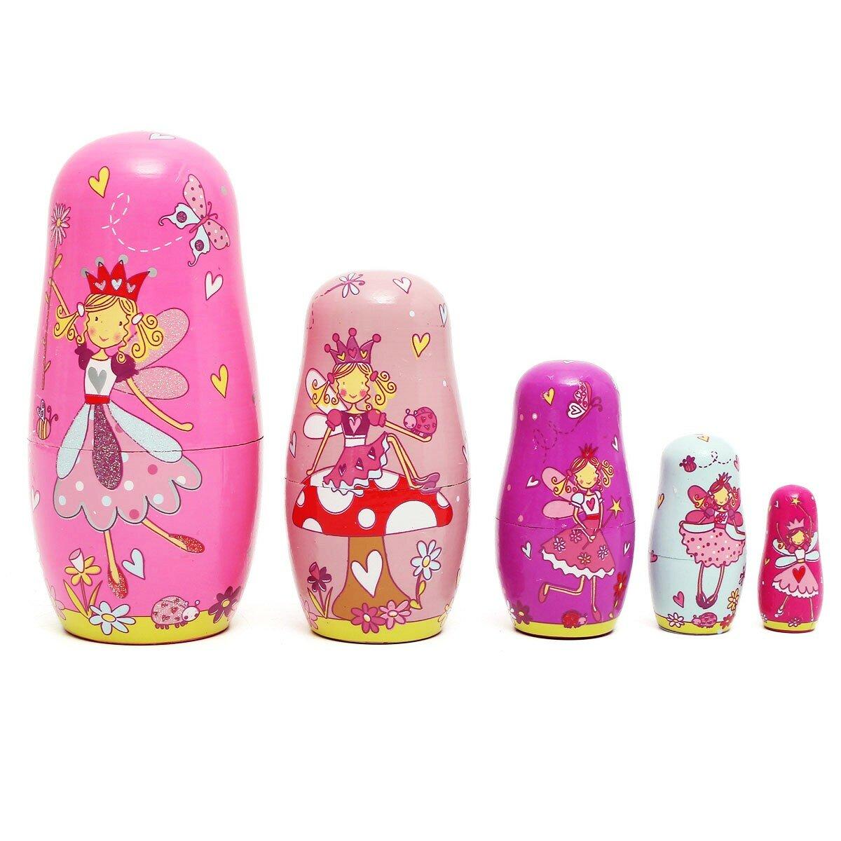 5pcs Wooden Angel Fairy Russian Babushka Matryoshka Nesting Dolls Tricky Toys Creative Gift