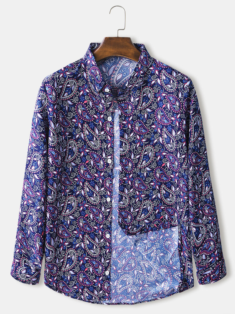 Mens Allover Paisley Print Ethnic Style Loose Casual Long Sleeve Shirts