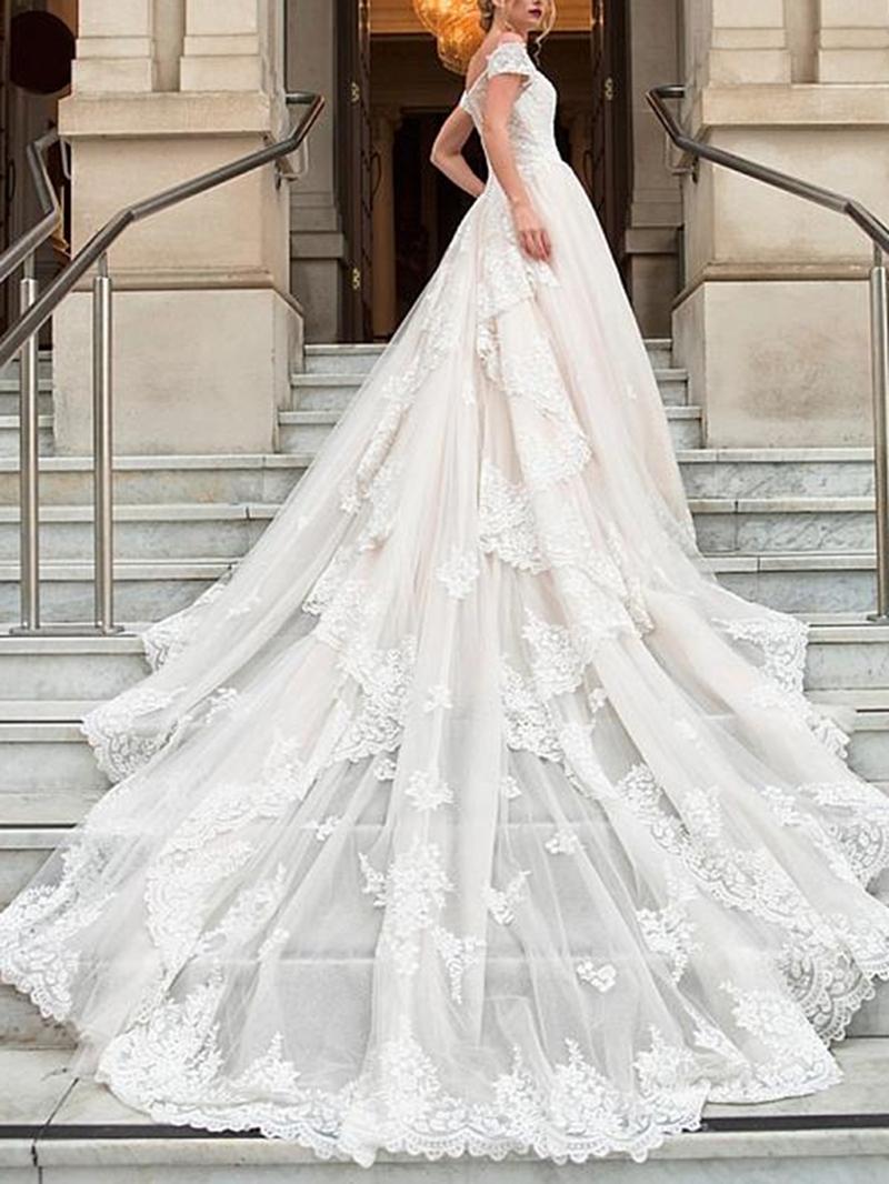 Ericdress Cap Sleeves Appliques Church Wedding Dress