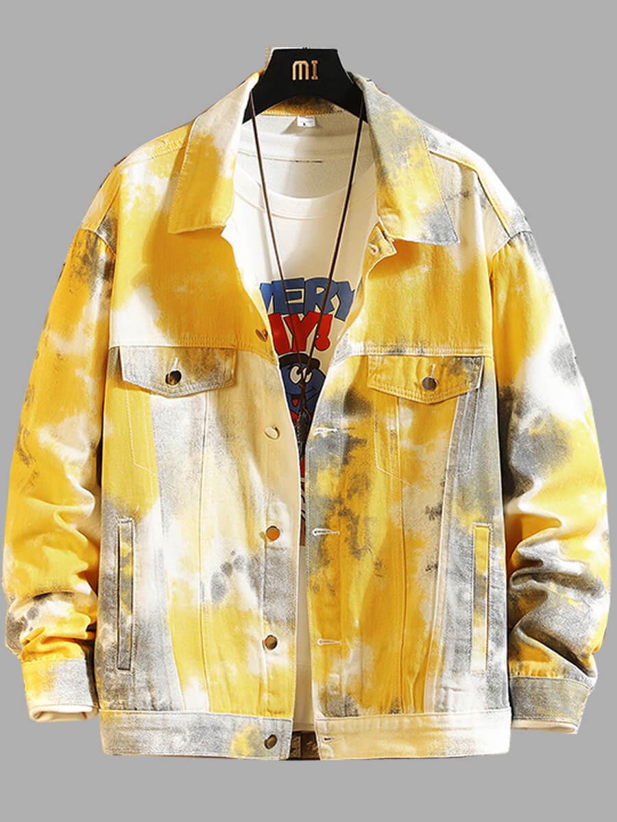 LW Lovely Street Turndown Collar Tie-dye Yellow Men Denim Jacket