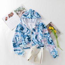 Sweatshirt mit Batik, Reissverschluss und Kapuze