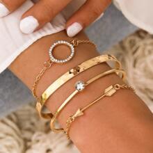 4 Stuecke Armband mit Strass