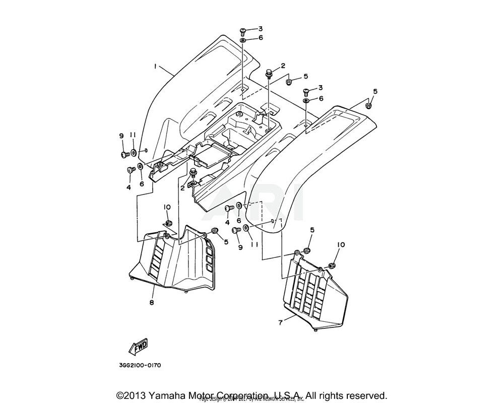 Yamaha OEM 2GU-W2161-71-00 REAR FENDER COMP.