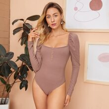 Leg-of-mutton Sleeve Buttoned Front Rib-knit Bodysuit
