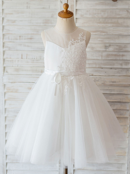 Milanoo Flower Girl Dresses Jewel Neck Lace Sleeveless Knee-Length Princess Silhouette Beaded Kids Social Party Dresses