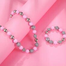 2pcs Toddler Girls Round Beaded Jewelry Set