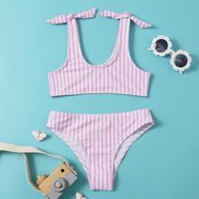 Girls Striped Tie Shoulder Bikini Swimsuit