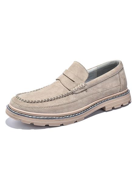 Milanoo Men\s Loafer Shoes Slip-On Monk Strap Round Toe Pigskin Upper Men\s Shoes