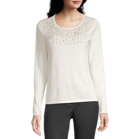 Liz Claiborne Womens Scoop Neck Long Sleeve Pullover Sweater, Xx-large , White