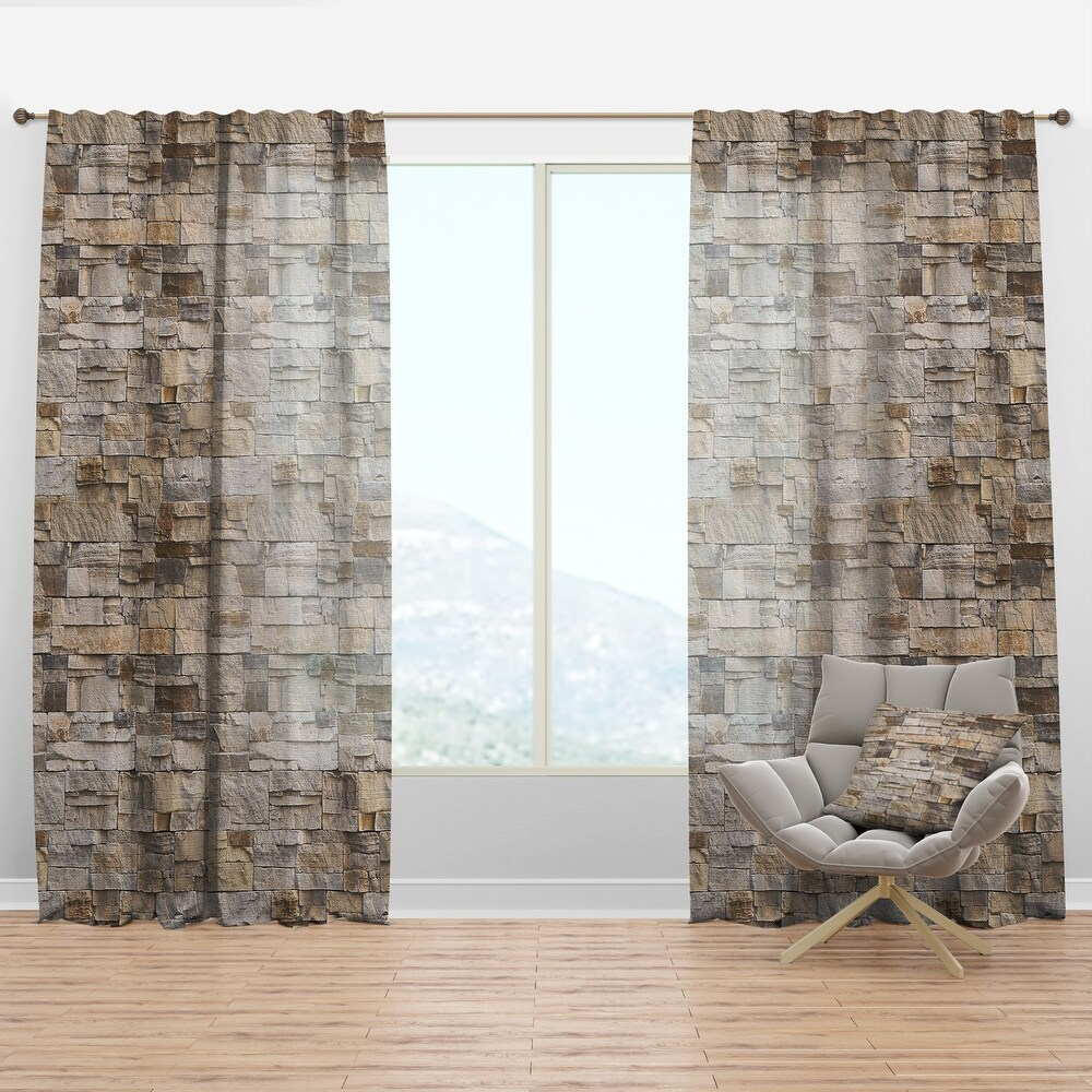 Designart 'Stone Wall with Beige Bricks' Modern & Contemporary Curtain Panel (50 in. wide x 63 in. high - 1 Panel)