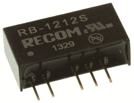 Recom RB 1W Isolated DC-DC Converter Through Hole, Voltage in 10.8 → 13.2 V dc, Voltage out 12V dc