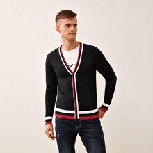 Men Striped Button Through Cardigan