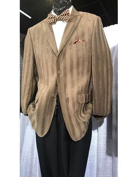 Mens High Fashion Single Breasted Stripe Brown Blazer