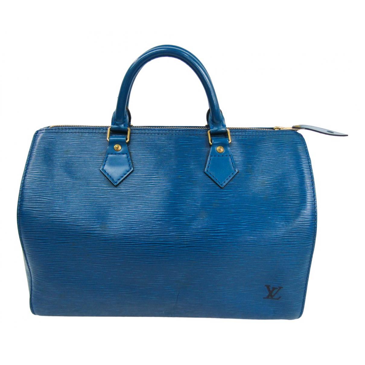 Louis Vuitton Speedy Handtasche in  Blau Leder