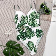 Einteiliger Badeanzug mit tropischem Muster und Schnalle