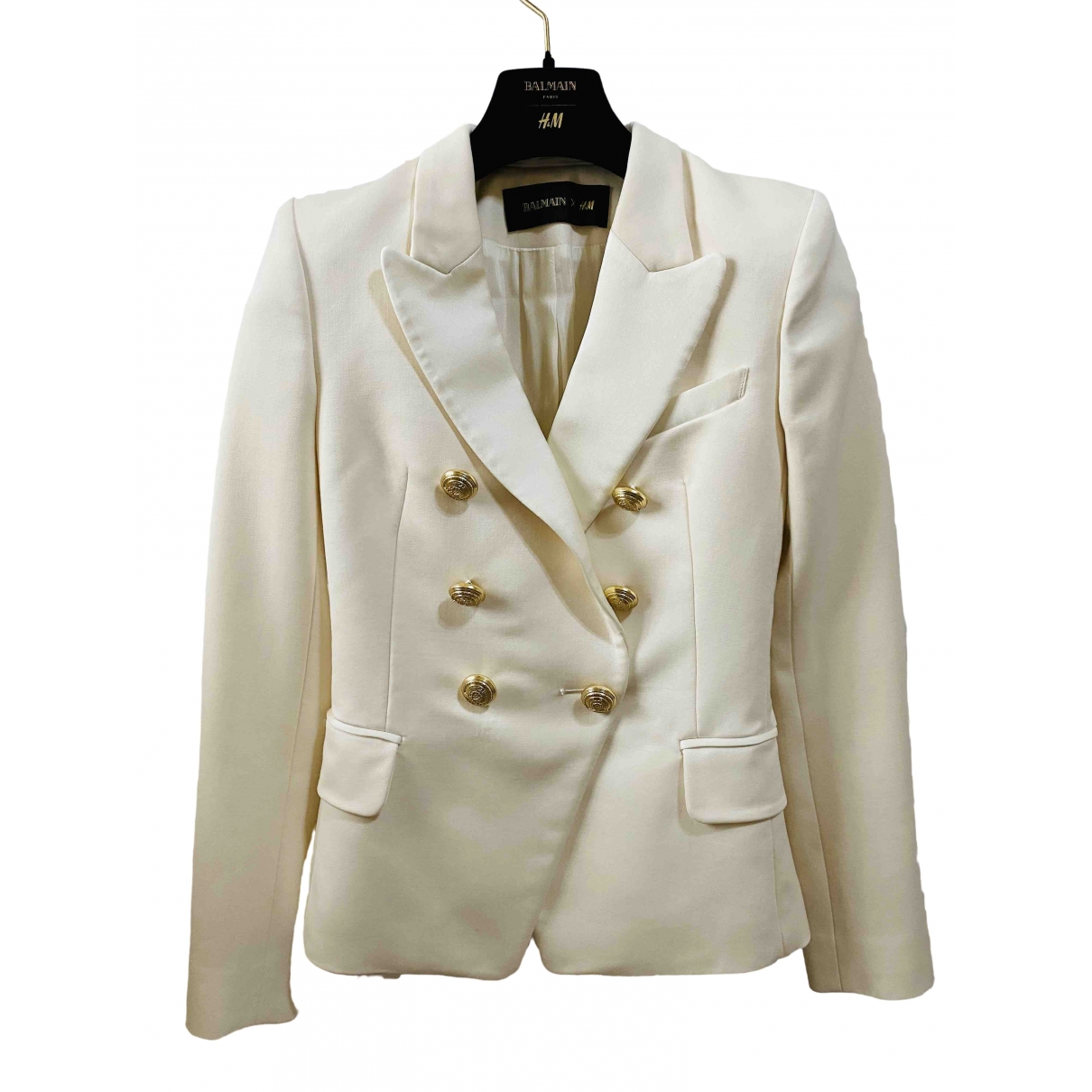 Balmain For H&m \N Jacke in  Weiss Wolle