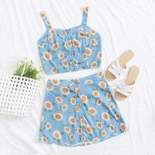 Sunflower Print Button Front Cami & Skirt