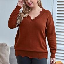 Pullover mit Bogenkante und sehr tief angesetzter Schulterpartie
