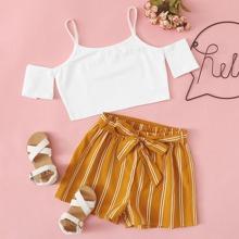 Schulterfreies Top & Shorts mit Selbstguertel und Streifen Set