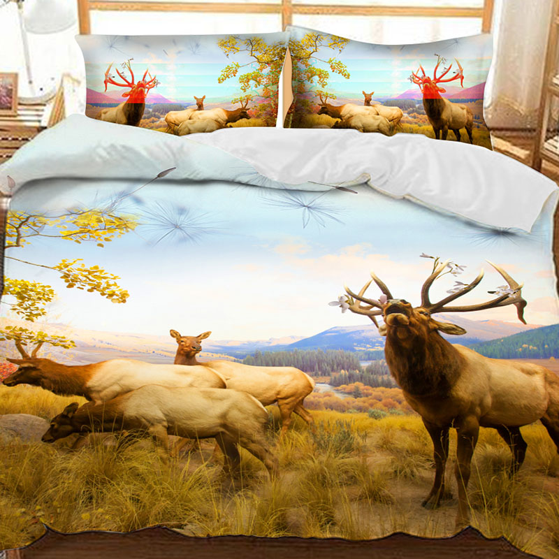 Four Deer On The Prairie Printed Polyester 3-Piece Bedding Sets/Duvet Covers