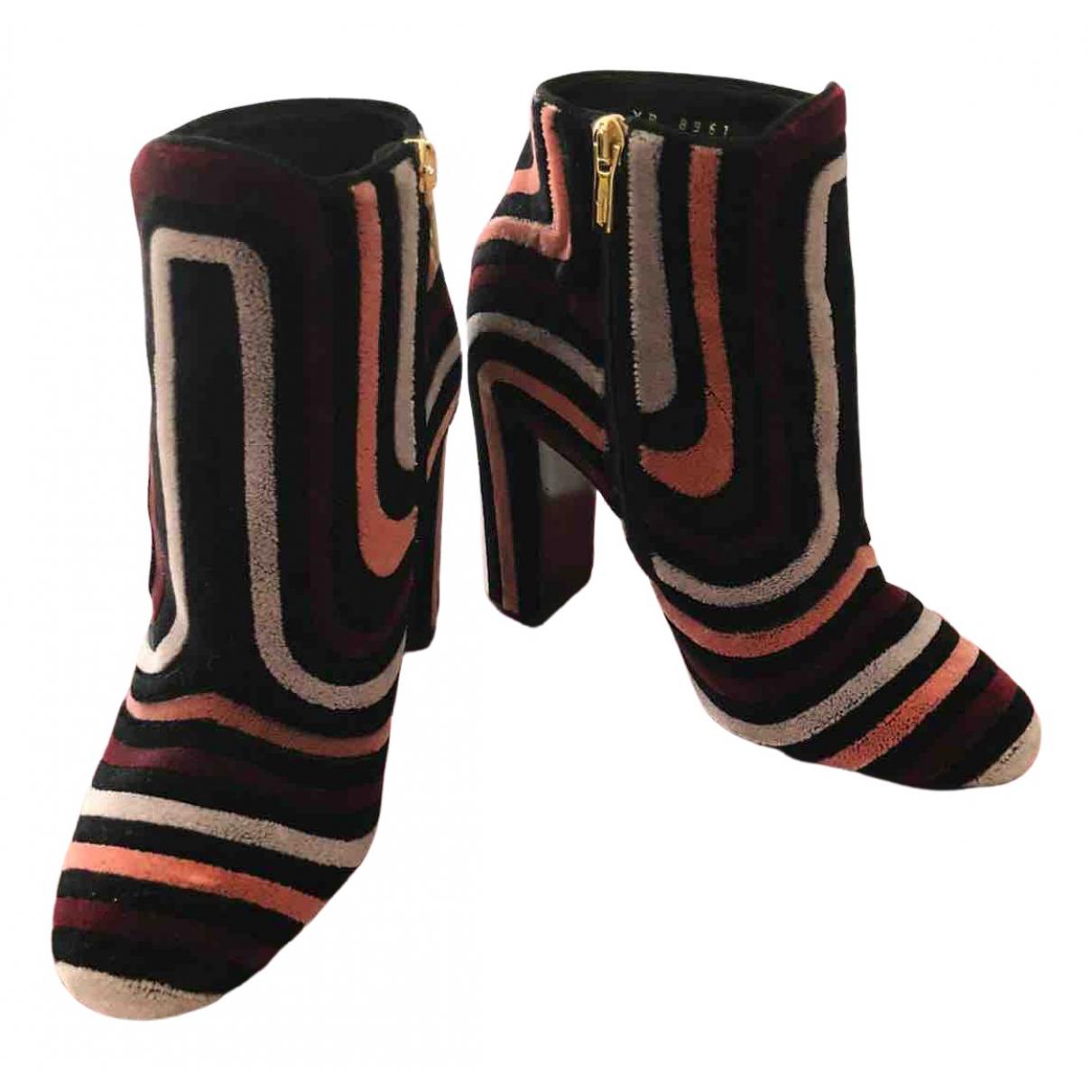 Salvatore Ferragamo N Multicolour Velvet Ankle boots for Women 37 EU