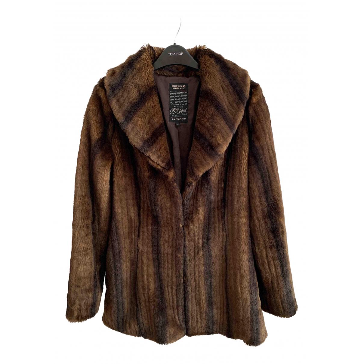River Island - Manteau   pour femme en fourrure synthetique - marron
