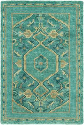 Haven HVN-1217 2 x 3 Rectangle Traditional Rug in Emerald  Teal  Dark Green
