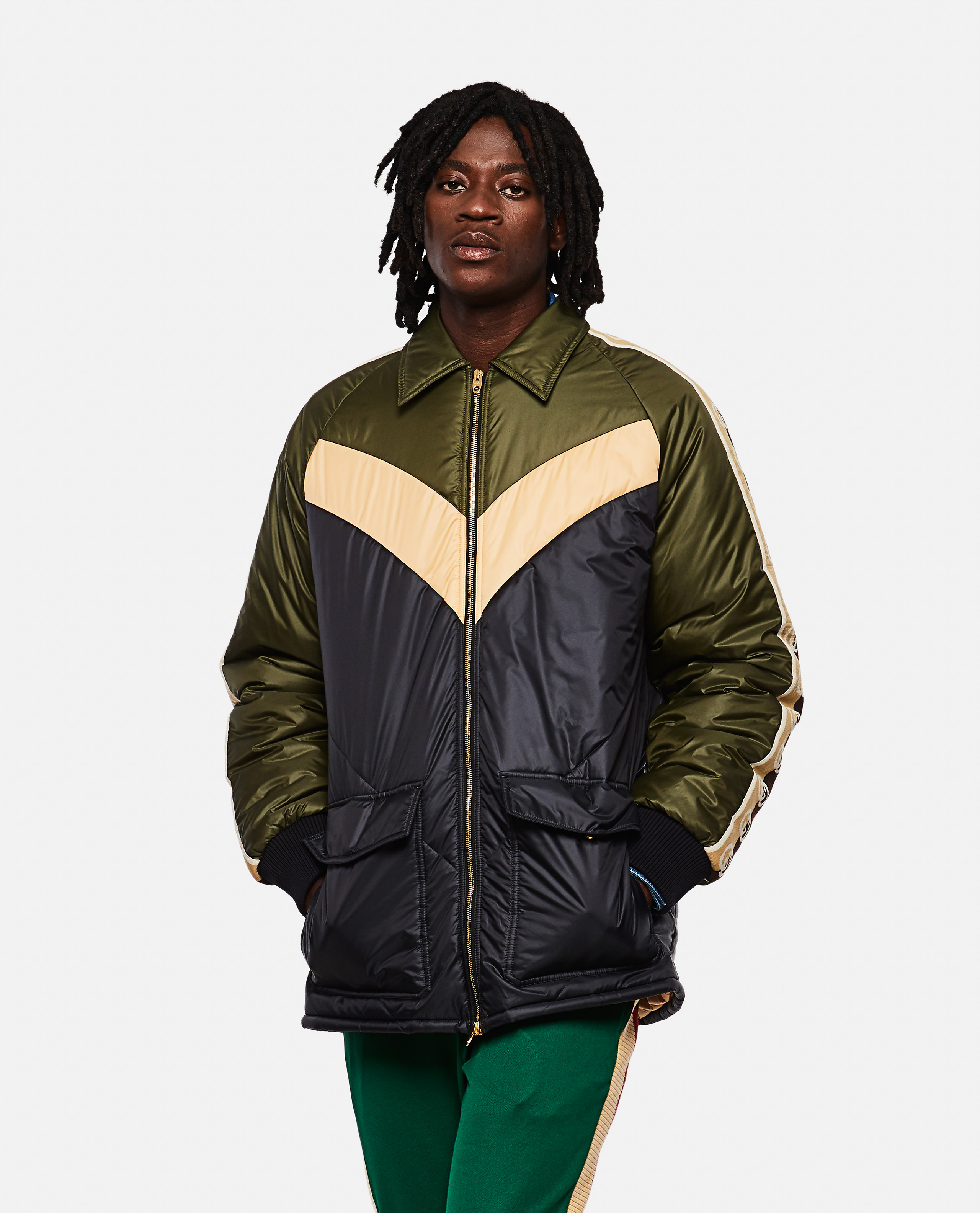 Gucci down jacket with contrasting panels