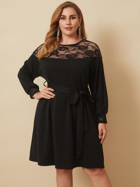 YOINS Plus Size Crew Neck Belt Design Lace Long Sleeves Midi Dress