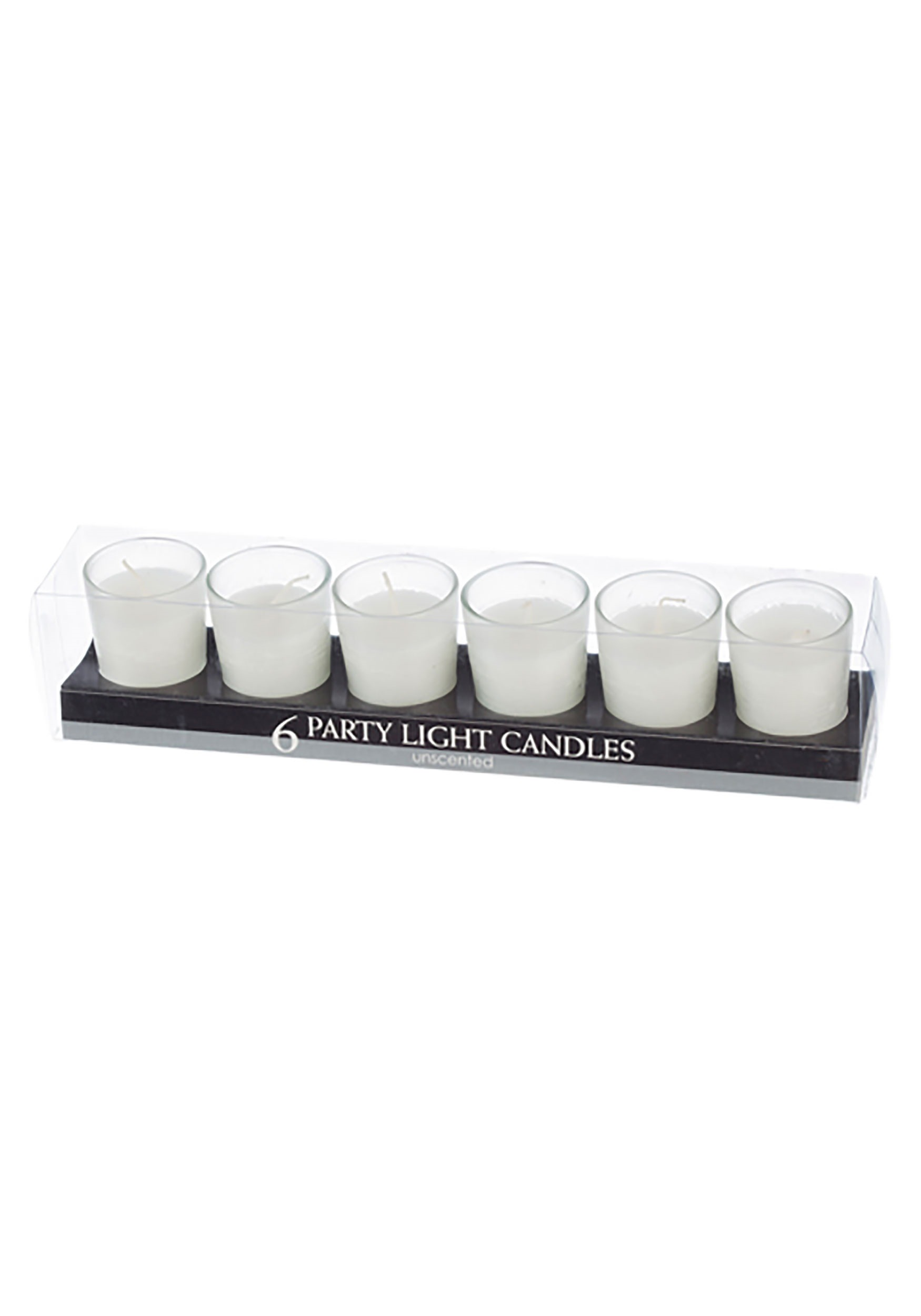 White Party Light Unscented Candles, Set of 6