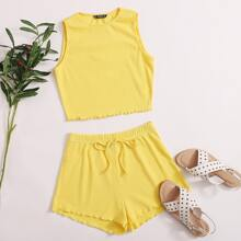 Lettuce Edge Tank Top and Tie Front Shorts Set