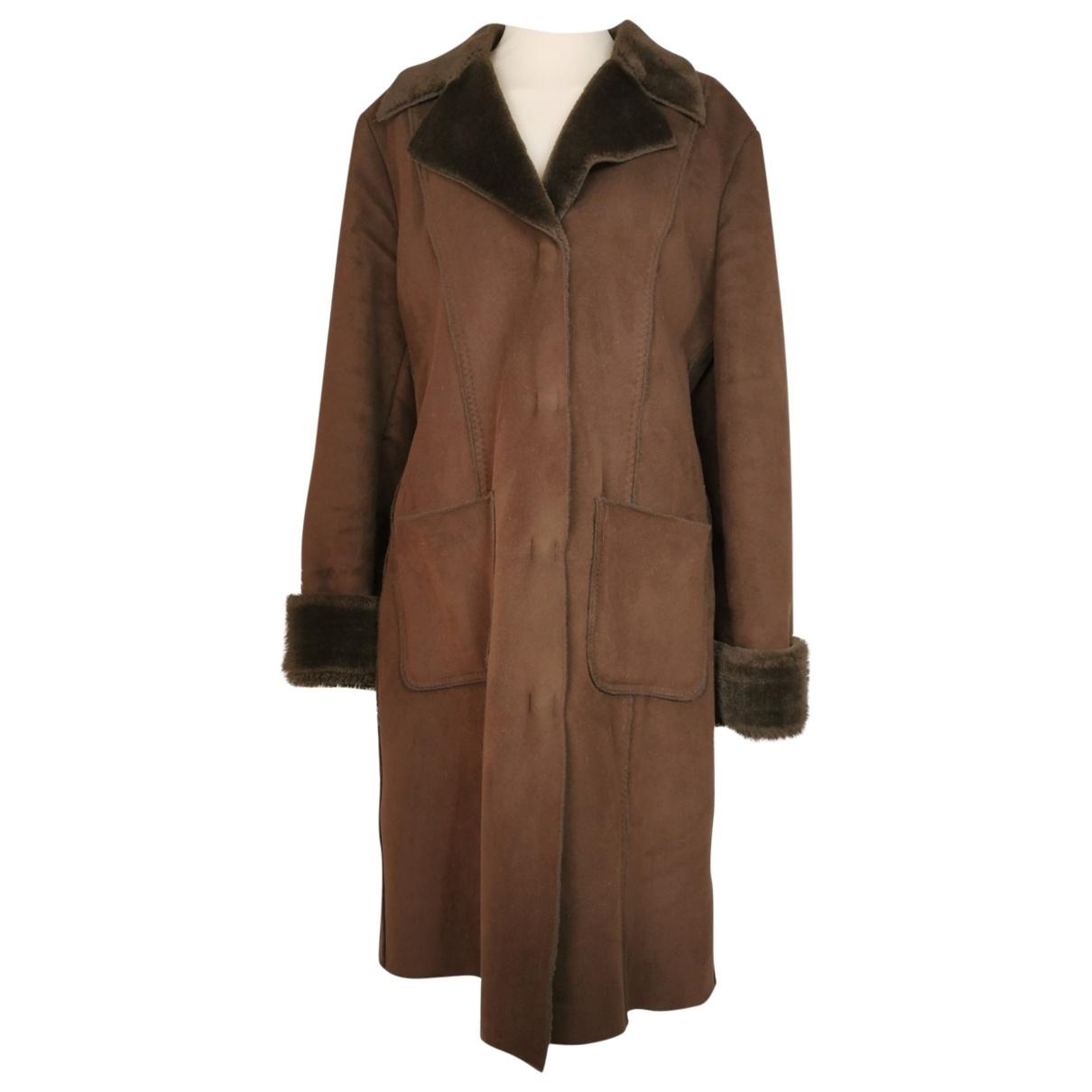 Pinko - Manteau   pour femme en fourrure synthetique - marron