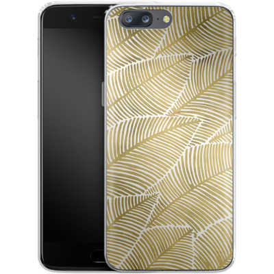 OnePlus 5 Silikon Handyhuelle - Tropical Leaves Gold von Cat Coquillette