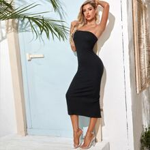Ribbed High-Slit Bodycon Dress