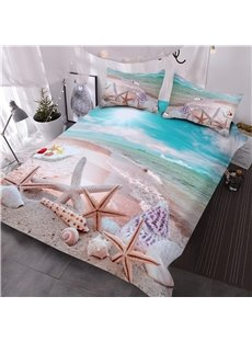 Ocean Starfish Seashells Convenient Cleaning 3D Printed 3-Piece Polyester Soft Comforter Sets Ligntweight No-fading Digital Printed Comforter for All