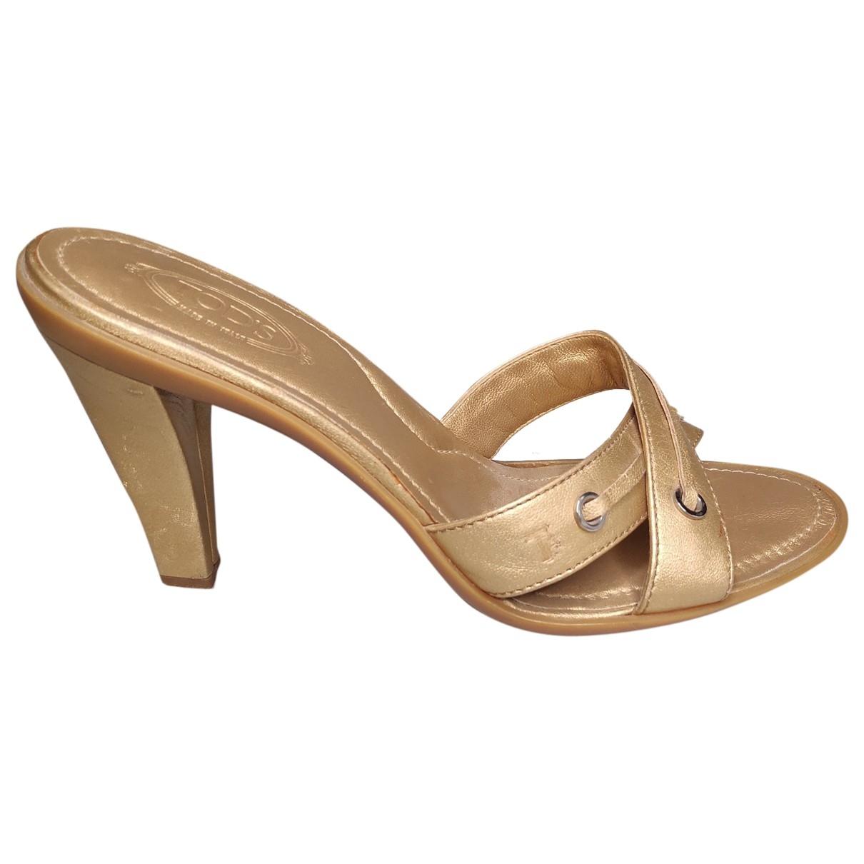 Tods - Sandales   pour femme en cuir - dore