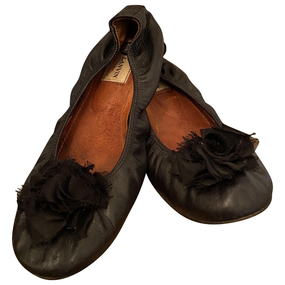 Lanvin \N Black Leather Ballet flats for Women 39 EU