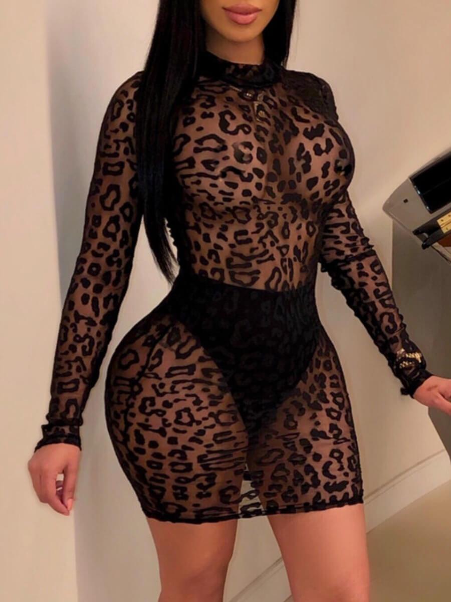 LW Lovely Sexy O Neck Leopard Print See-through Black Mini Dress