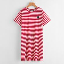 Heart Print Striped Tee Dress
