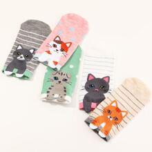 5pairs Girls Cat Pattern Socks