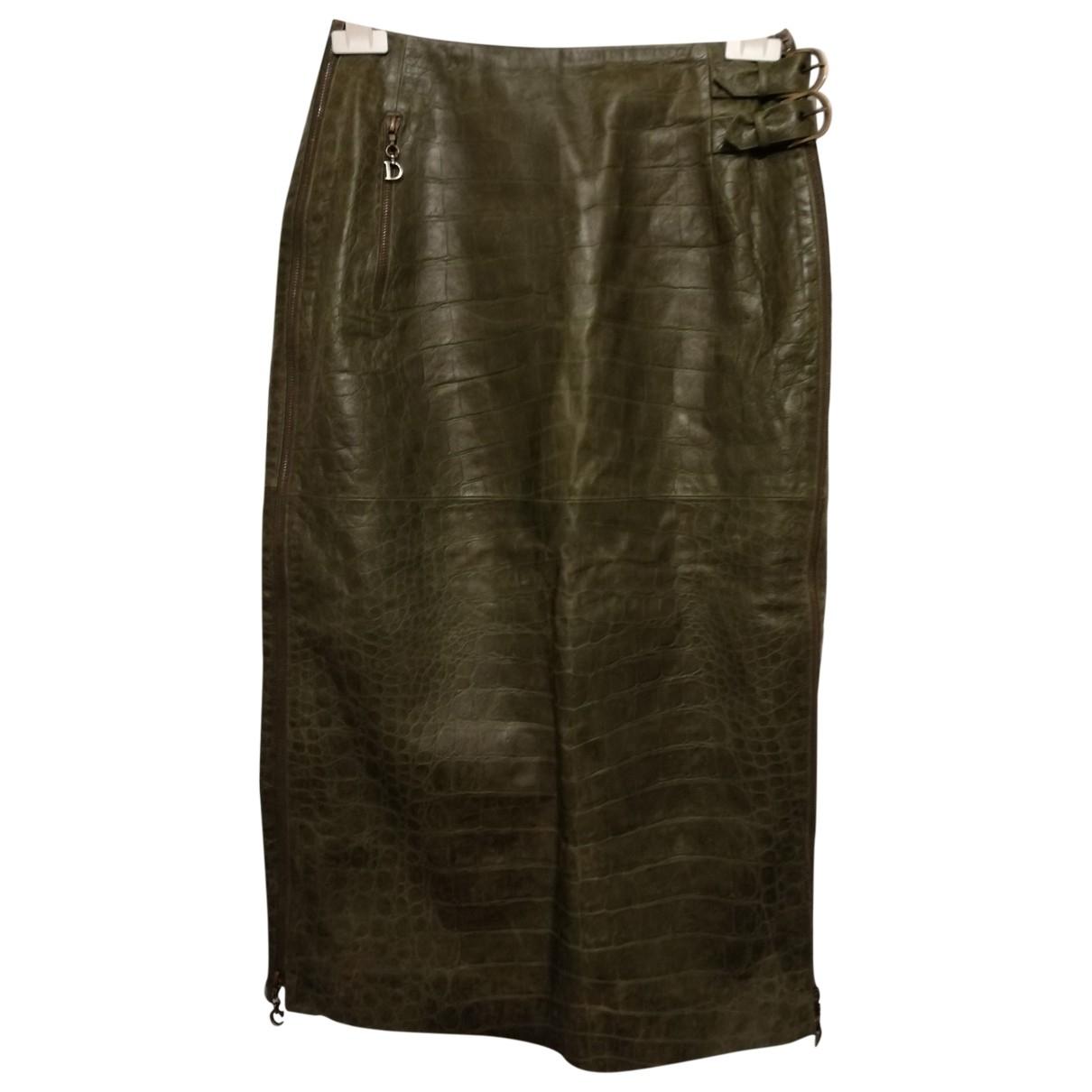 Dior \N Green Leather skirt for Women 40 FR