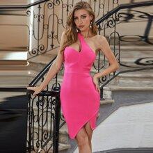 Sesidy vestido de vendaje tejido de canale con un hombro rosado neon