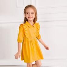 Toddler Girls Button Front Ruffle Trim Shirt Dress