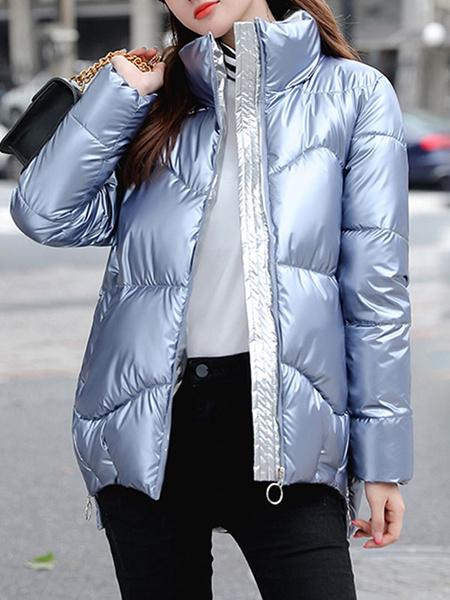 Milanoo Abrigos acolchados para mujer Abrigo de invierno acolchado de manga larga con cuello alto azul
