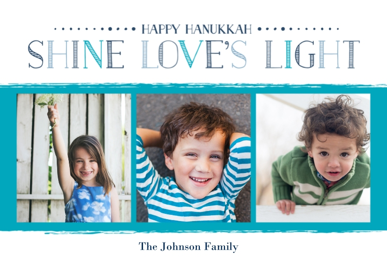 Hanukkah Photo Cards 5x7 Cards, Standard Cardstock 85lb, Card & Stationery -Shine Love's Light Hanukkah