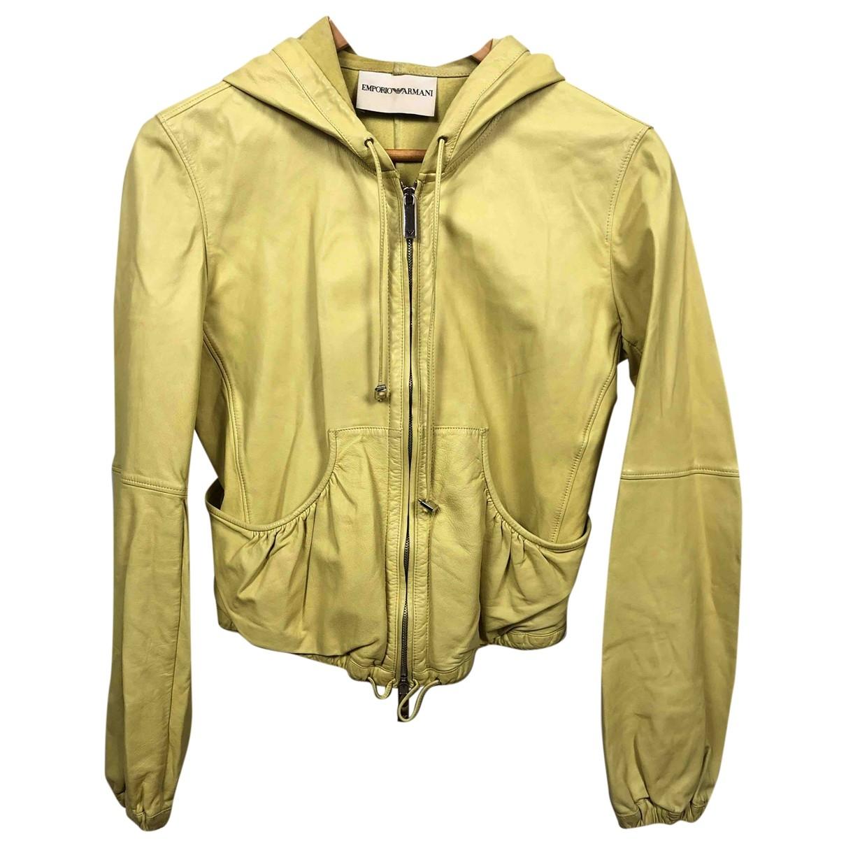 Emporio Armani - Veste   pour femme en cuir - jaune