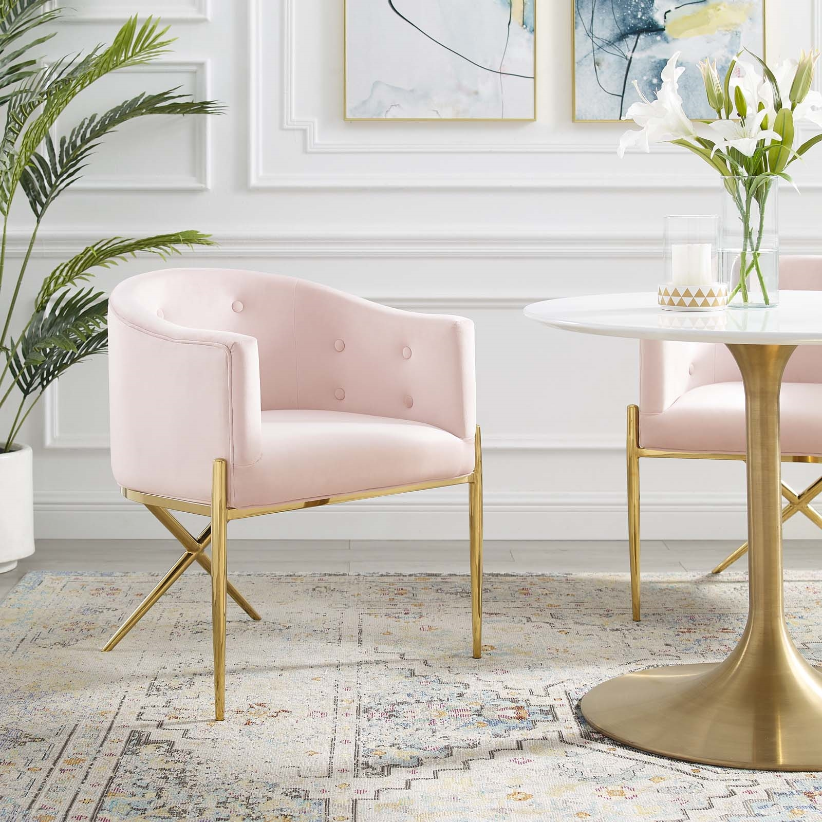 Savour Tufted Performance Velvet Accent Dining Armchair in Pink