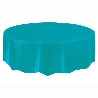 Plastic Table Cover Round, Caribbean Teal 84